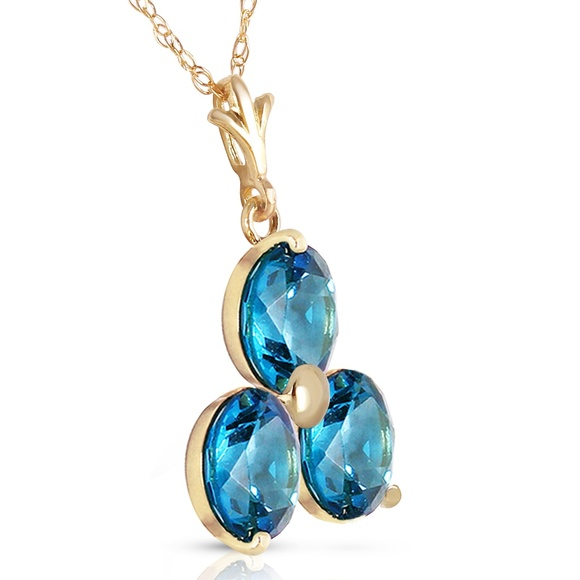 Galaxy Gold Products Jewelry - 14K. SOLID GOLD NECKLACE WITH NATURAL BLUE TOPAZ